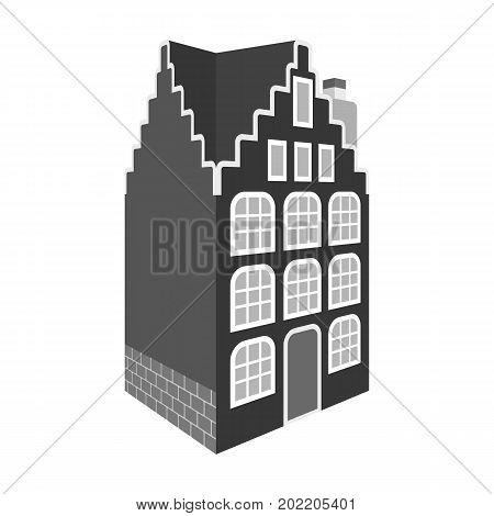 Traditional Scandinavian building. Architecture of the house single icon in monochrome style vector symbol stock illustration .