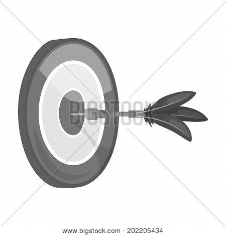 Dart and a target for darts. The game of darts single icon in monochrome style vector symbol stock illustration .
