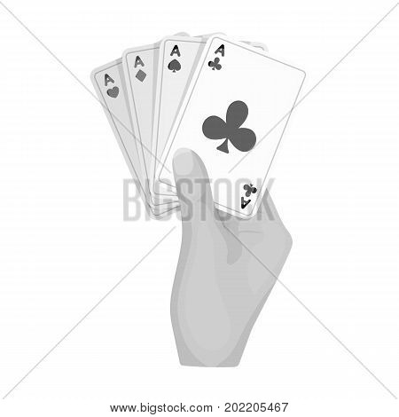 Combination of cards in hand. Playing cards single icon in monochrome style vector symbol stock illustration .