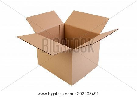 Simple brown open and empty carton box isolated on white