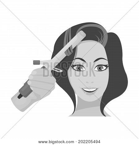 Hair curling in the hairdresser. Curling Hair single icon in monochrome style vector symbol stock illustration .