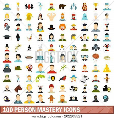 100 person mastery icons set in flat style for any design vector illustration