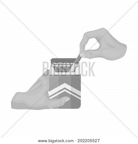 Extraction of the cigarette from the pack. A pack of cigarettes single icon in monochrome style vector symbol stock illustration .