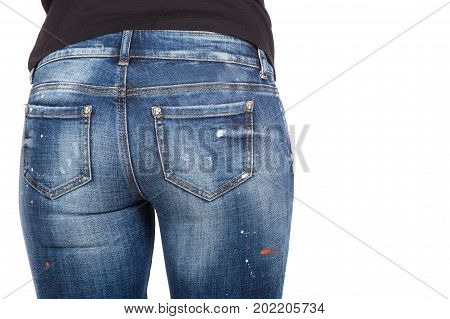 Close up of sexy woman wearing blue jeans. Fit female butt in blue jeans
