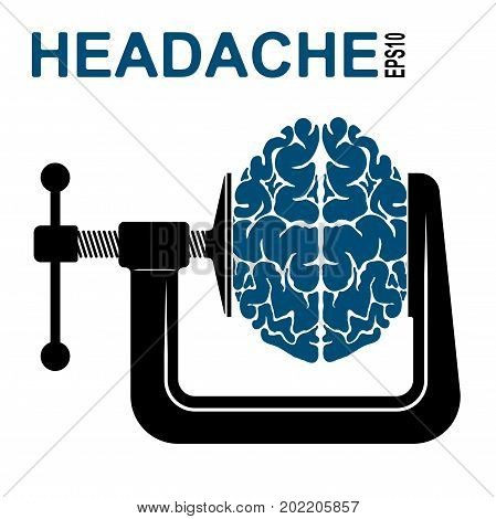 Logo Or Icon About A Headache. Pressure On The Brain. Oppression Of Man.