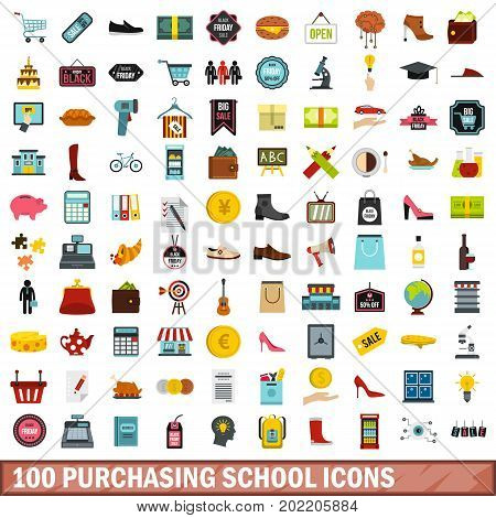100 purchasing school icons set in flat style for any design vector illustration