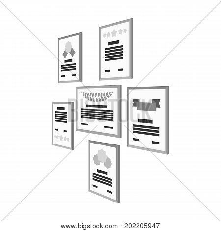 Certificate, diploma and license in a frame on the office wall. Office and interior single icon in monochrome style Isometric vector symbol stock illustration .