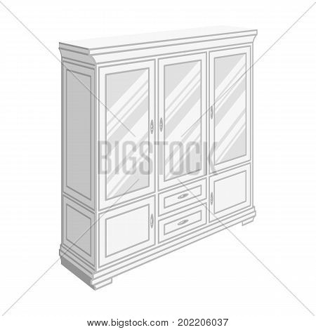 Cabinet with glass doors and drawers. Furniture and interior single icon in monochrome style vector Isometric symbol stock illustration .