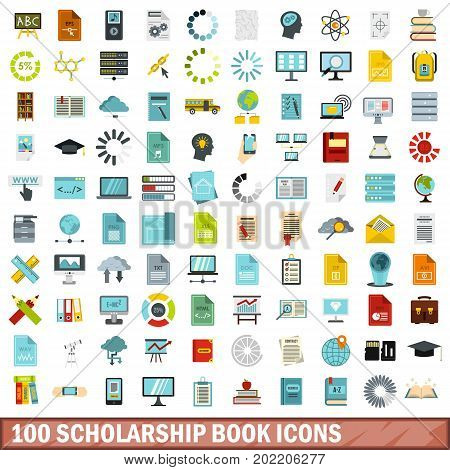 100 scholarship book icons set in flat style for any design vector illustration