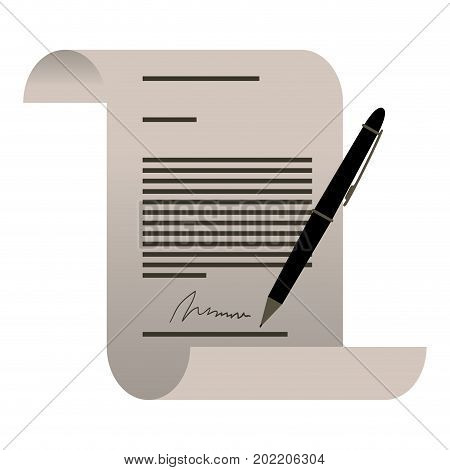white background with continuously sheet contract document firm and pen vector illustration