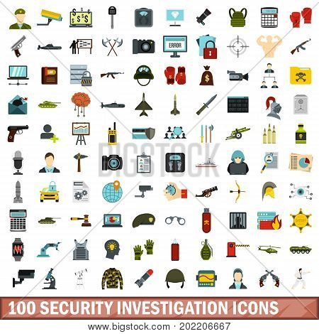100 security investigation icons set in flat style for any design vector illustration