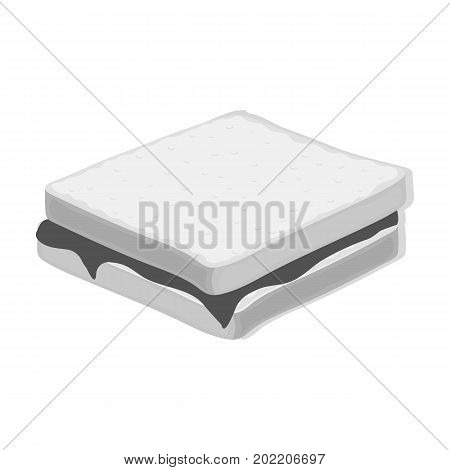 Tasty food, a sandwich with chocolate.Food single icon in monochrome style vector symbol stock illustration .