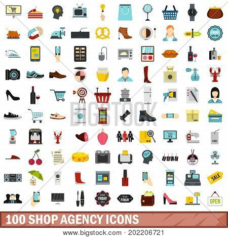 100 shop agency icons set in flat style for any design vector illustration
