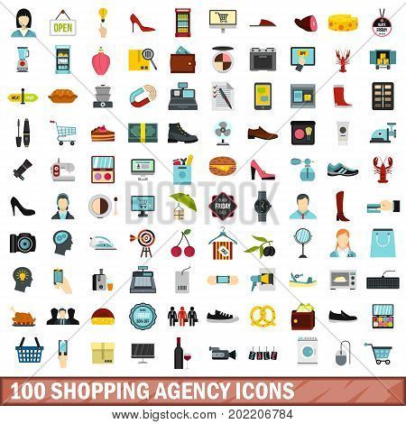 100 shopping agency icons set in flat style for any design vector illustration