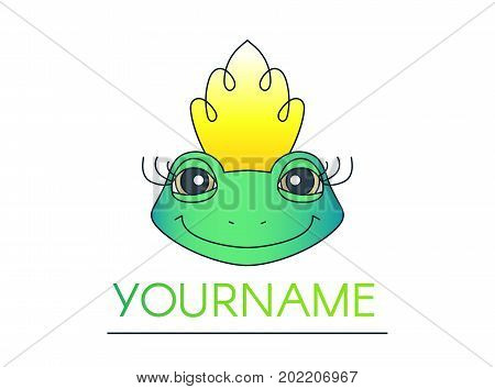 Friendly smiling green frog in a crown logotype isolated on white background. Magic fairytale toad with long curled eyelashes. Fantastic creature cartoon character. Animal princess. Amphibian queen.