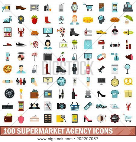 100 supermarket agency icons set in flat style for any design vector illustration