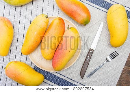 mango fruit on summer sweet mango , yellow sweet mangoes