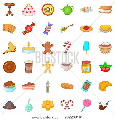 Candy icons set. Cartoon style of 36 candy vector icons for web isolated on white background