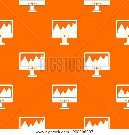 Monitor and a chart pattern repeat seamless in orange color for any design. Vector geometric illustration