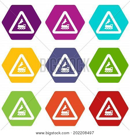 Warning sign railway crossing without barrier icon set many color hexahedron isolated on white vector illustration