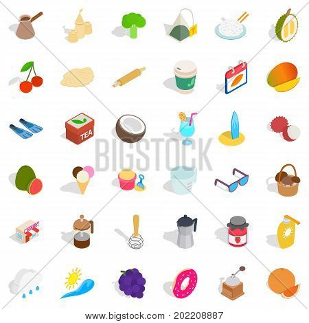 Candy icons set. Isometric style of 36 candy vector icons for web isolated on white background