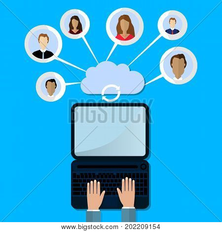 modern cloud services and Cloud Computing Elements Concept. Devices connected to the cloud with Gears. Flat Vector Illustration.