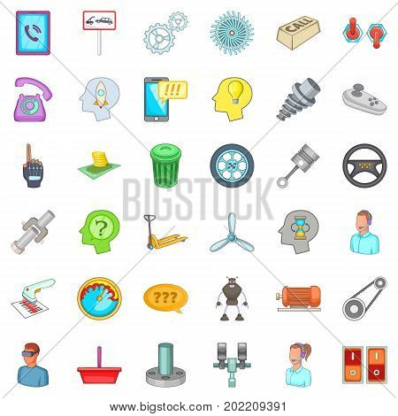 Technical support icons set. Cartoon style of 36 technical support vector icons for web isolated on white background
