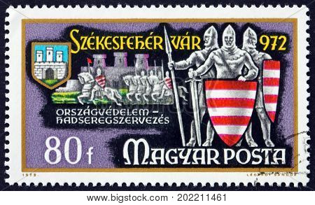 HUNGARY - CIRCA 1972: a stamp printed in Hungary shows Knights Country