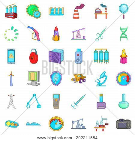 Microscope icons set. Cartoon style of 36 microscope vector icons for web isolated on white background
