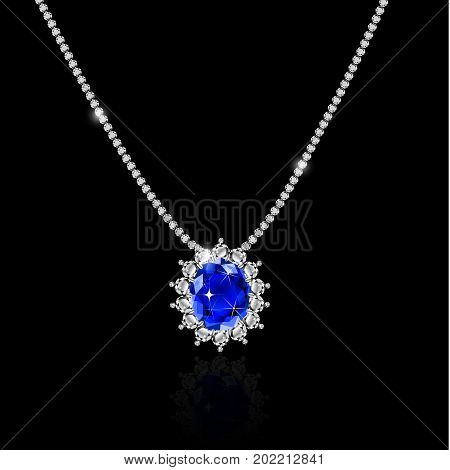White gold necklace with sapphire and diamonds vector