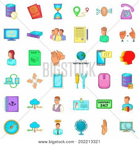 Telecommunication icons set. Cartoon style of 36 telecommunication vector icons for web isolated on white background
