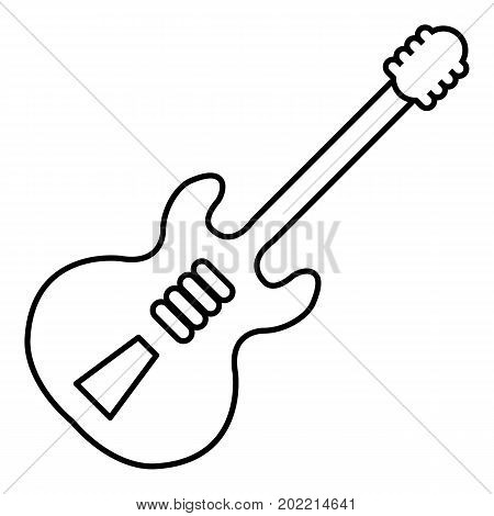 Electric guitar icon. Outline illustration of electric guitar vector icon for web design isolated on white background