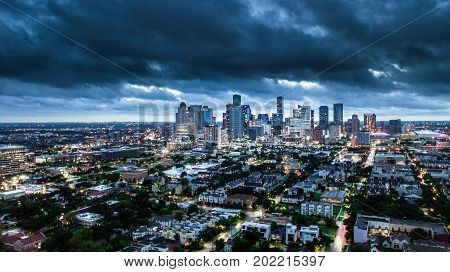 Aerial Photo of Houston Weather before Storm