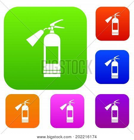 Fire extinguisher set icon in different colors isolated vector illustration. Premium collection