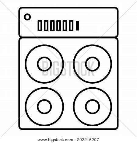 Speaker box icon. Outline illustration of speaker box vector icon for web design isolated on white background