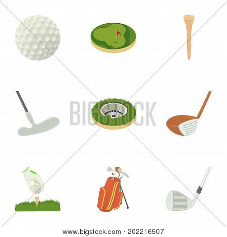 Golf equipment icons set. Cartoon set of 9 golf equipment vector icons for web isolated on white background