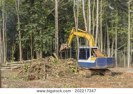 Crawler dozer working in the construction site