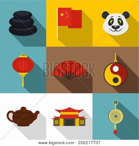 China travel icon set. Flat style set of 9 China travel vector icons for web design