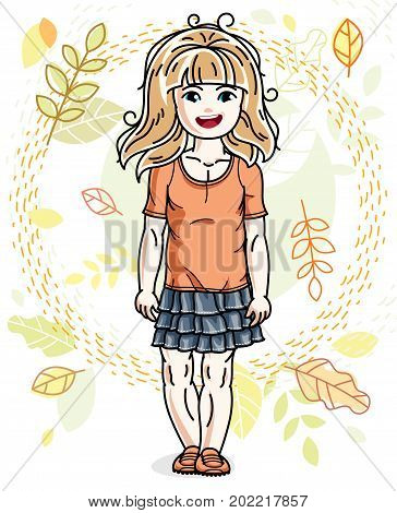 Little fair-haired girl toddler standing on background of autumn landscape and wearing fashionable casual clothes. Vector attractive kid illustration. Fashion and lifestyle theme cartoon.