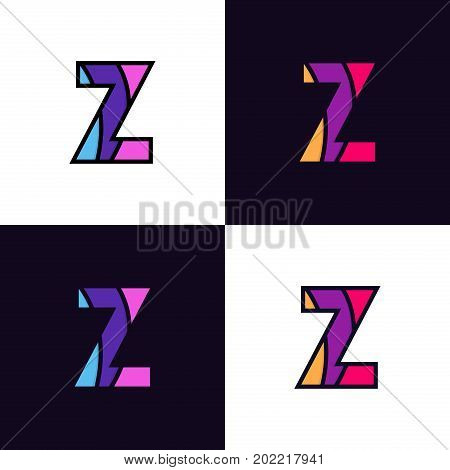Clean Colorful Letter Z Logo Icon Sign Flat Design.