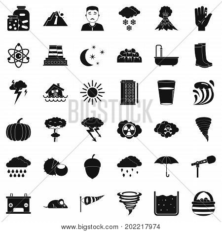 Thunderstorm icons set. Simple style of 36 thunderstorm vector icons for web isolated on white background