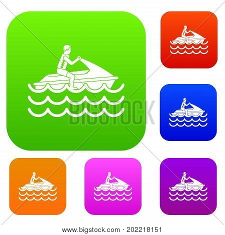 Man on jet ski rides set icon in different colors isolated vector illustration. Premium collection
