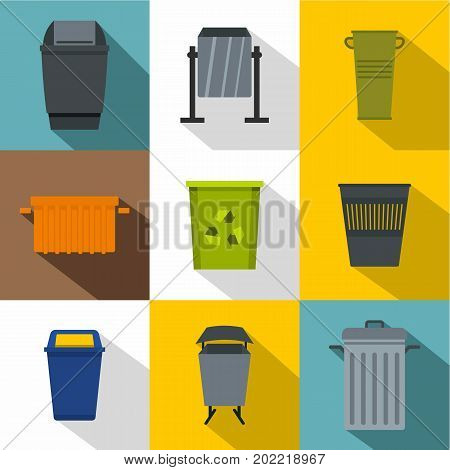 Garbage container icon set. Flat style set of 9 garbage container vector icons for web design