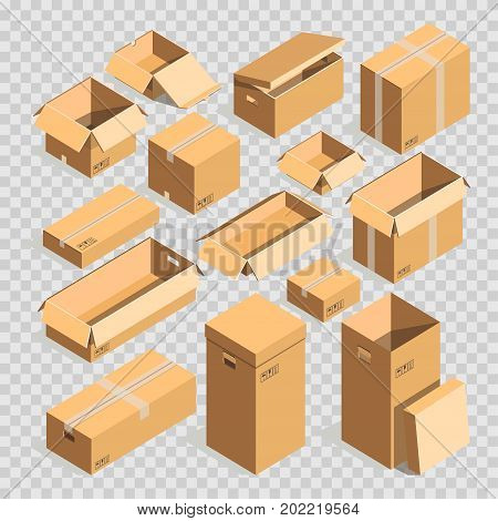 Carton box or 3D cardboard post packages on transparent background. Realistic shipping parcel paper packs or boxes for delivery sealed with adhesive tape, open and close. Vector isolated icons set