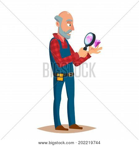 Jeweler Man Vector. Eyeglass Magnifier, Jewelry Gem Items. Occupation Person To Work With Precious Stones. Cartoon Character Illustration