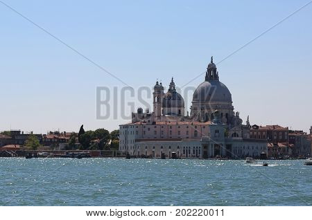 Venice Italy Buildings Called Punta Della Dogana And Dome Of The