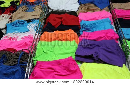 Underwear shop with very colorful panties and slip with glittering colors