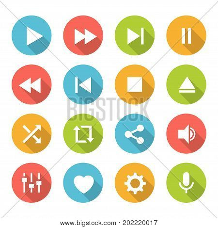 Media player buttons. Multimedia keyboard with play, pause, stop, skip next and skip back icon. Vector flat style illustration isolated on white background