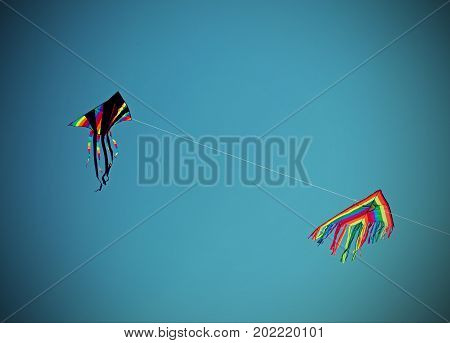 Two Huge Kites Fly In The Blue Sky
