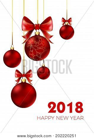 Happy New Year 2018 poster of Christmas balls and red bow tie decoration. 3D glass ball with golden ornament. Vector design for New Year greeting card or winter sale background